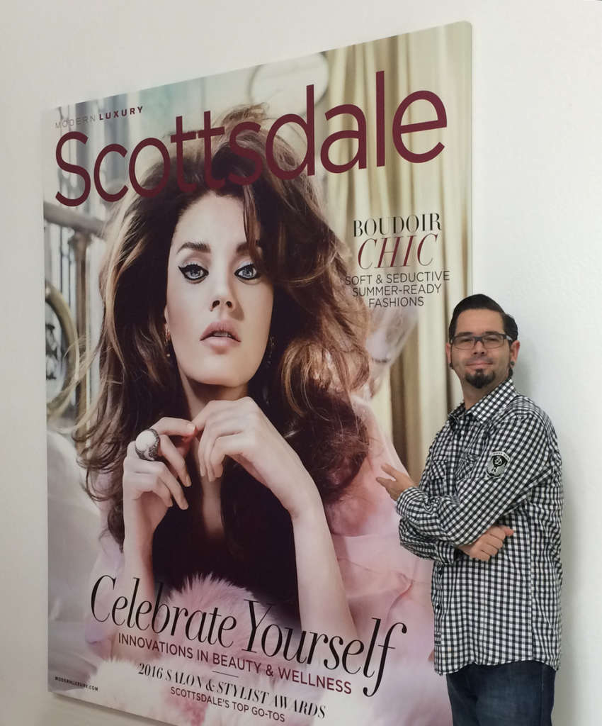 XL Canvas of Scottsdale magazine cover with Mike Goldner standing next to it for AHD giclee printing blog