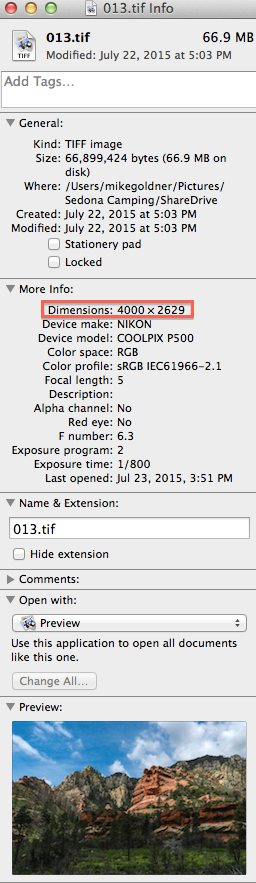 Image file dimentions are found under more info on the Get File Info Screen