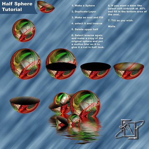 Step by step Photoshop tips on making a half-sphere