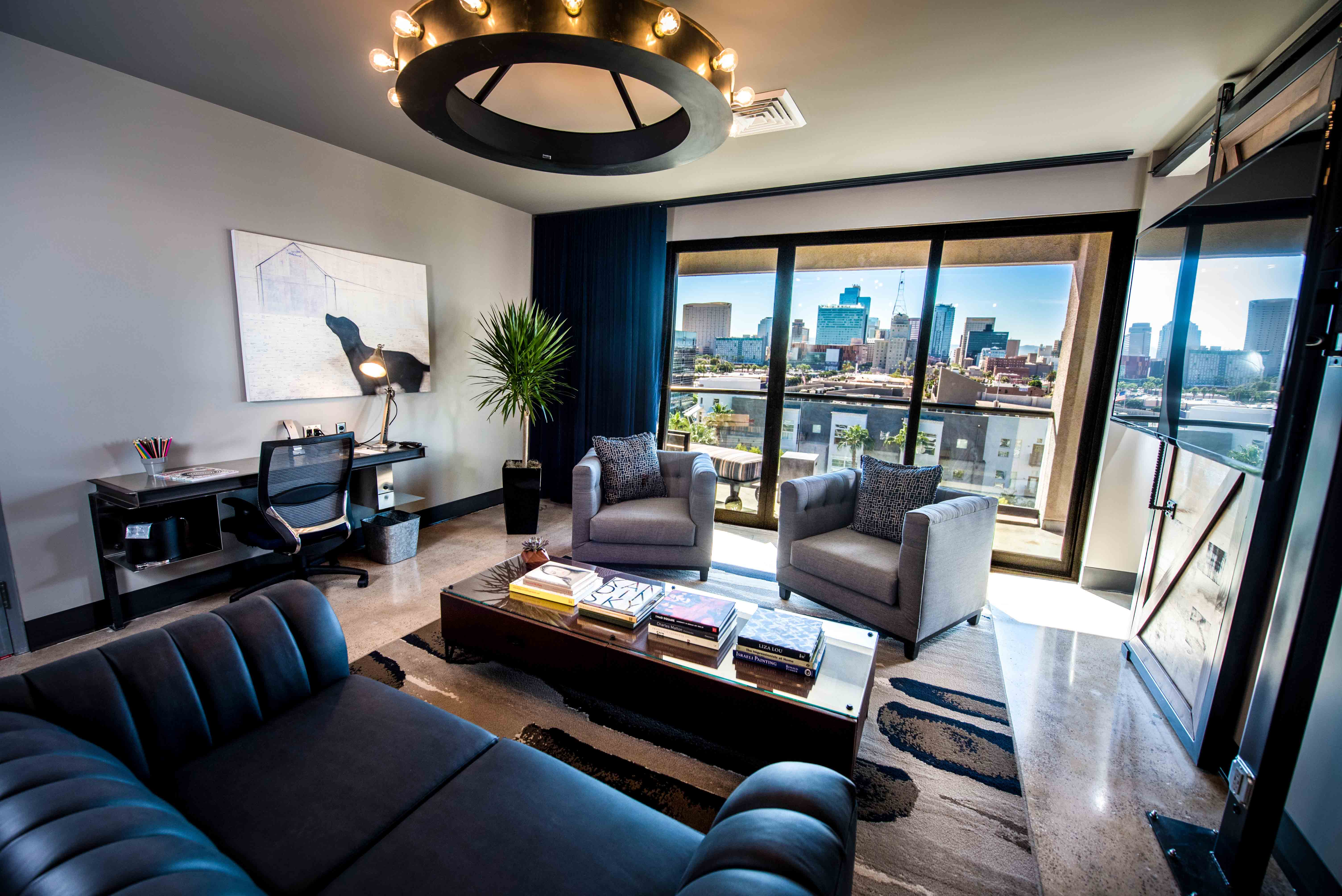 FoundRE Living Room with Custom Hotel Gallery Art Print
