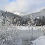 Vacation Pictures of snowy alps and lake in Germany